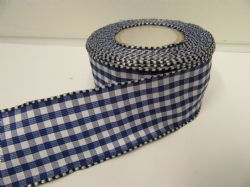 Royal Blue 2 metres or full roll x 38mm Wired Florist Gingham Ribbon Double Sided check stiff edged